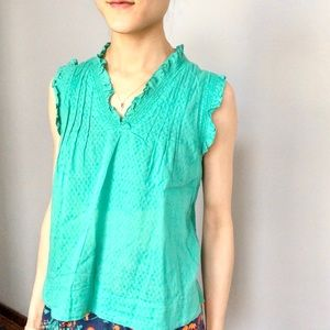 See by Chloe aquamarine ruffled sleeveless top